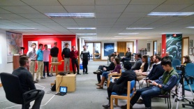 Group with crowd at 1 Million cups