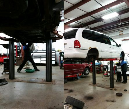 two pics of van work