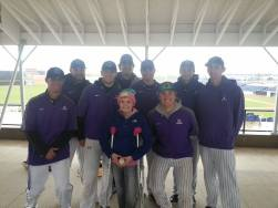 Sammy with Rockford University players at Be The Match Drive